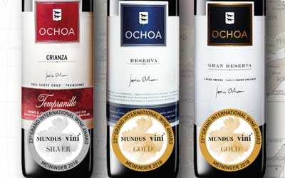 Bodegas Ochoa recibe 3 medallas en el 23º Gran Premio Internacional del Vino MUNDUS VINI